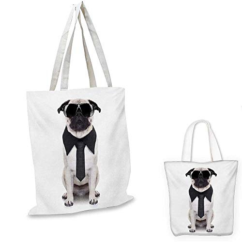 """Price comparison product image Pug royal shopping bag Cool Looking Dog Tie and Big Fancy Black Sunglasses Funny Canine Animal Comedy Image funny reusable shopping bag Black Cream. 14""""x16""""-11"""""""