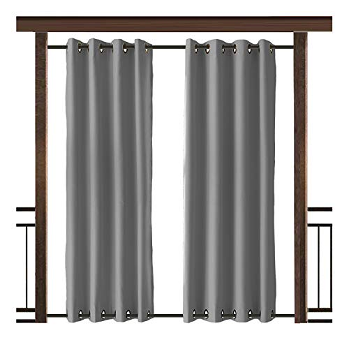 TWOPAGES Outdoor Curtain Antique Bronze Grommet Waterproof Drape(Both Top and Bottom) Grey 52