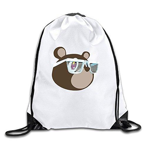 Logon 8 Canye Cute Glasse Bear Cinch Sack Custom Drawstring Tote Bags Pack Pockets - Kimono Beyonce