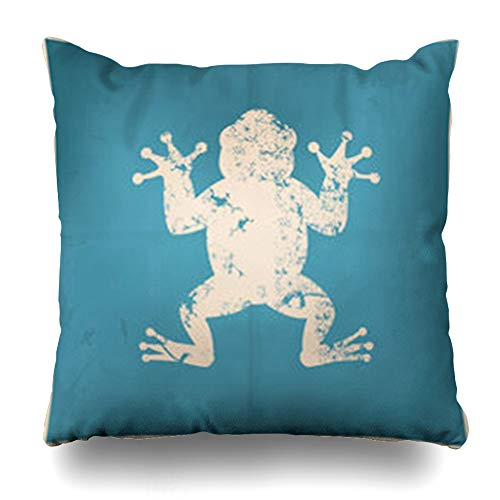 Blue Frog Bedding - DaniulloRU Throw Pillow Covers Blue Alone Frog On Old Abstract Tympanum Bullfrog Wildlife Amphibian Belly Bright Clip Vintage Home Decor Sofa Cushion Cases Square Size 18 x 18 Inches Pillowcase