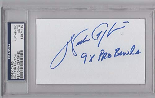 (Walter Payton 9x Pro Bowl Certified Signed Index Card Rare Inscription! - PSA/DNA Certified - NFL Cut Signatures)