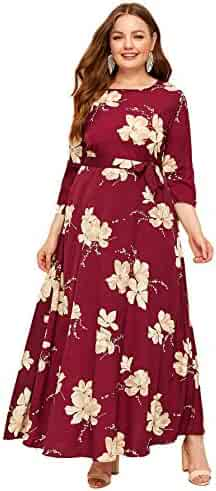 ad9d58760 Milumia Women Plus Size Floral Print Self Tie Waist Long Sleeve Maxi Party  Dress