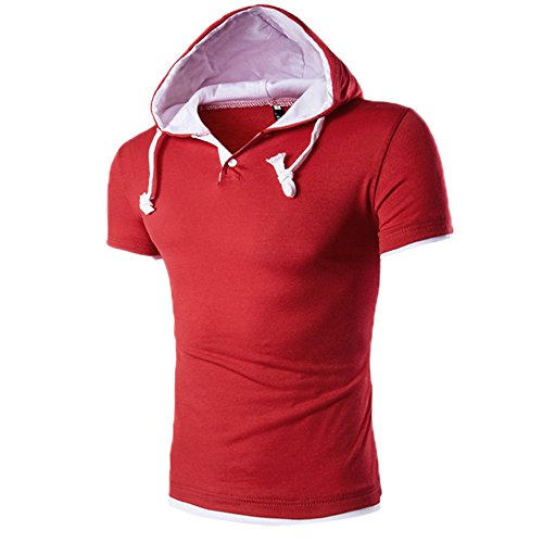 iLUGU Men Summer Fashion Pullover Men's Comfy Stretch T-Shirt Solid Color Hooded Short Sleeve Red