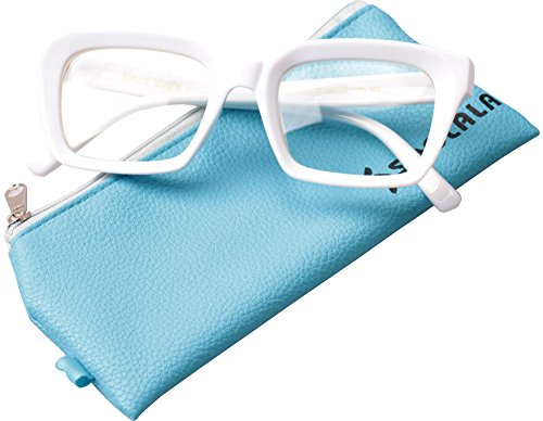 SOOLALA Retro Desinger 50mm Large Lens Square Reading Glass Big Eyeglass Frame, White, - Designer Uk Online Prescription Glasses
