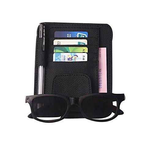 Car Sun Visor Organizer - ZATOOTO Visor Sunglass Holder Card Holder Black (Visor Sun Organizer)