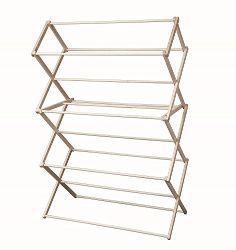 Extra Large Wood Laundry Drying Rack Collapsible, 48