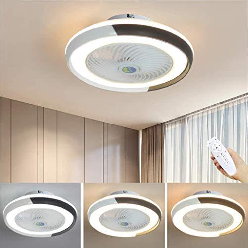 WJJH Ventilador de Techo LED Lámpara Minimalista Moderna de la lámpara de Techo Ventilador Regulable Fan Redonda Ultra…