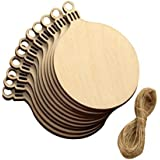 Round Blank Wood Discs Bulk with Holes for Crafts Centerpieces 10 Pieces Unfinished Wooden Christmas Cutouts Ornaments to Paint