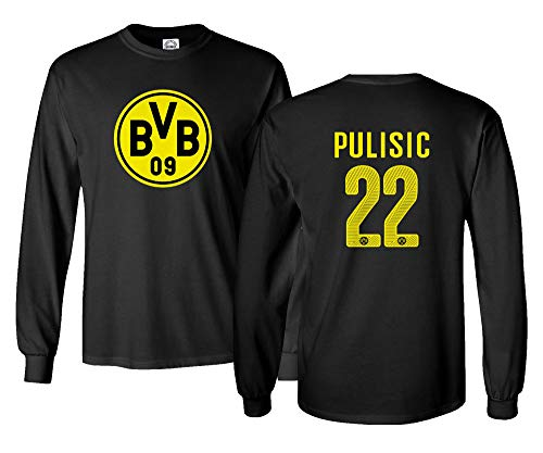 huge selection of e1d5b 2f16c Spark Apparel Soccer Jersey Style Shirt #22 Christian Pulisic Dortmund  Men's Long Sleeve T-Shirt (Black, Large)