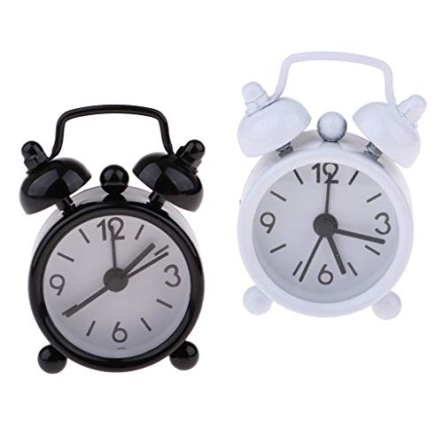 Brosco 2Pcs 1/6 Dollhouse Miniature Living Room Vintage Metal Alarm Clock Toys