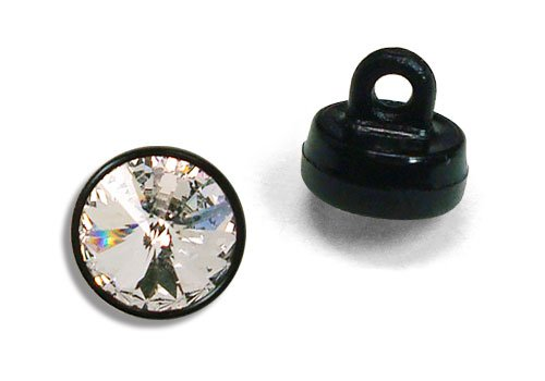 (Swarovski - 6mm (29ss) Clear Crystal Button with Black Shank - 6 Pieces )