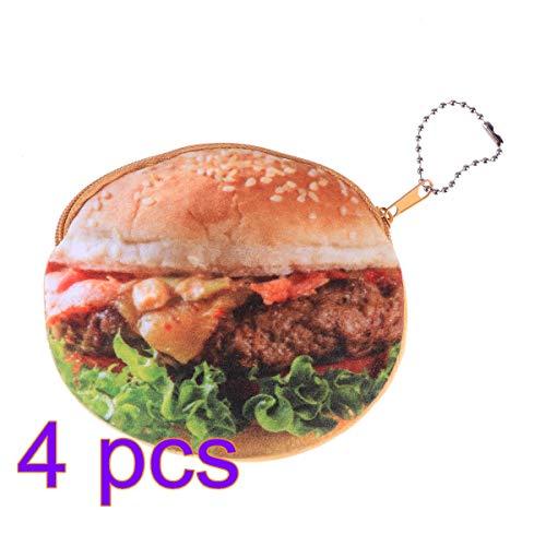SUPVOX 4pcs Coin Pouch with Keychain Cute Hamburger Food Shape Soft Plush Coin Purse Change Cash Bag Zipper Small Purse Wallets for Women Girls Kids