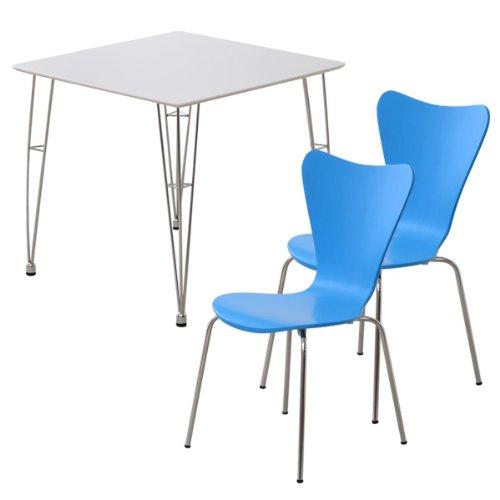 おしゃれでシンプル!ダイニング3点セット(テーブルホワイト)(チェアブルー)(テーブルとチェア2脚セット) B06WP2XBPD 3点セット|ホワイト×ブルー ホワイト×ブルー 3点セット