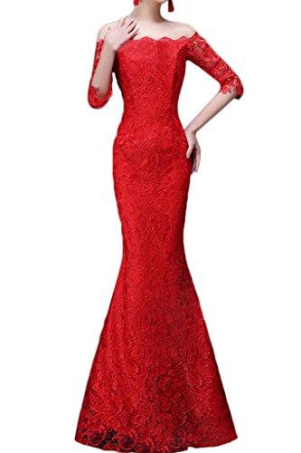 Damen Rot Aermel Etui Halb Spitze Ivydressing Promkleid Ausschnitt Hochwertig U Abendkleid Linie Partykleid Festkleid 6nBwdaq
