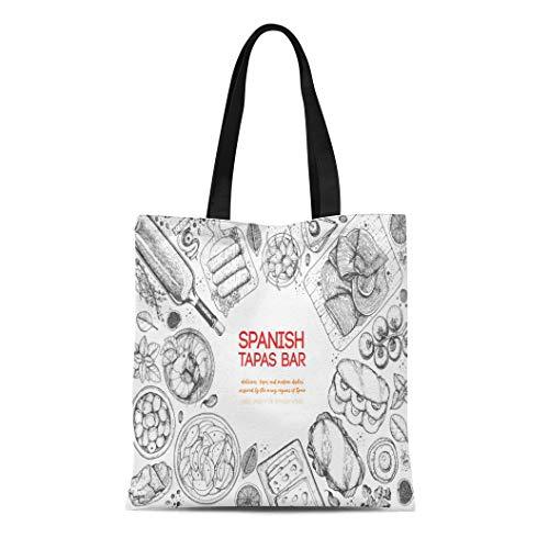 Semtomn Canvas Tote Bag Shoulder Bags Spanish Tapas Top View of Dishes Bocadillo Jamon Patatas Women