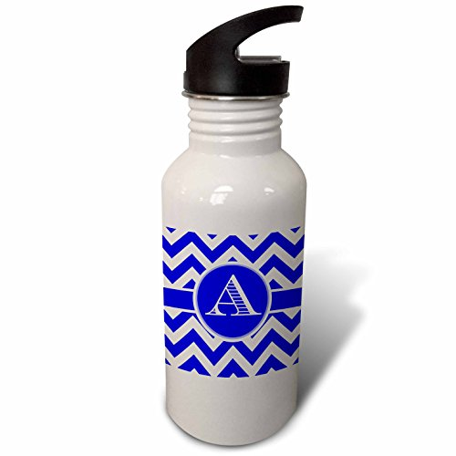 3dRose BrooklynMeme Designs - Blue and white chevron monogram white initial A - Flip Straw 21oz Water Bottle (wb_253022_2)