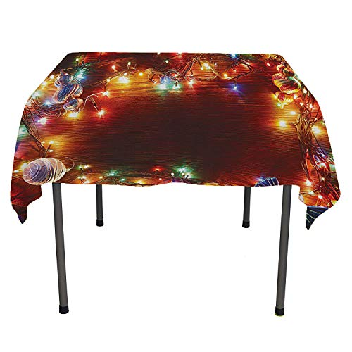 Christmas, Tablecloth for Kitchen Dining TabletopFairy on Wooden Rustic Pine Tree with Ornaments and Sweet Candy Lollies Print, Home Decoration Outdoor, 36x36 Inch Multicolor