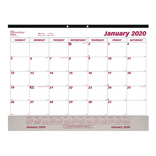 (Brownline 2020 Monthly Desk Pad Calendar Calendar with Clear Vinyl Strip, 22 x 17 inches (C1731V-20))