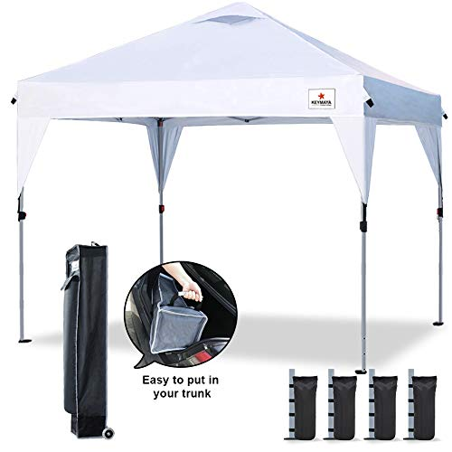 Keymaya 10'x10' Ez Pop Up Canopy Tent Commercial Instant Shelter Canopies Pop Up Outdoor Portable Shade with Wheeled Bag Bonus Heavy Duty Weight Bag 4-pc Pack (10x10, A#Skirt White)