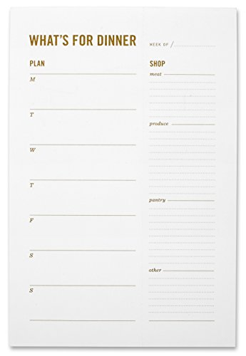 What's for Dinner Magnetic Meal Planning Pad with Grocery List- Weekly Family Meal Planner Notepad with Perforated, Tear Off Food Shopping List & Refrigerator Magnet - 6 x - Perforated Tear