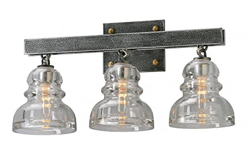 - Troy Lighting Menlo Park 3-Light Vanity - Old Silver Finish with Historic Pressed Clear Glass