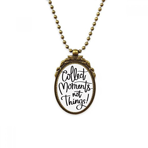 DIYthinker Collect Moments Not Things Quote Antique Brass Necklace Vintage Pendant Jewelry Deluxe Gift