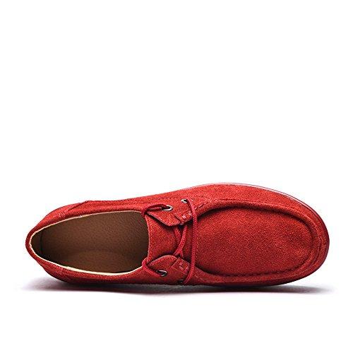 Femmes Enllerviid Plate-forme Mocassins Confort Daim Mocassins Glisser Sur La Mode Baskets Chaussures 525 Rouge