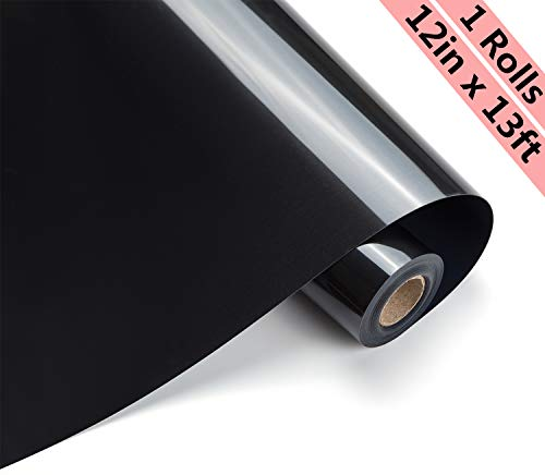 Eygoo HTV Heat Transfer Vinyl 12Inch x13Feet Rolls,Iron On Craft Vinyl for Cricut and Other Cutters,Easy to Cut & Weed,Permanent Adhesive HTV Vinyl for T-Shirts(Black) (Best Heat Press For Heat Transfer Vinyl)