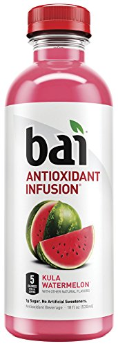 (Bai Flavored Water, Kula Watermelon, Antioxidant Infused Drinks, 18 Fluid Ounce Bottles, 12 count)