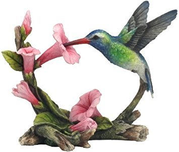 Hummingbird Statue (5.75 Inch Green Violet Ear and Hummingbird Statue Figurine, Multicolor)