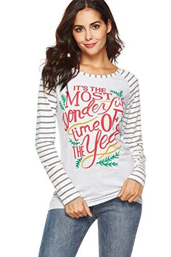 WOAIVOOU Women Christmas Tops Casual Long Sleeve Baseball T Shirt Funny Letter Print Xmas Blouse Shirts