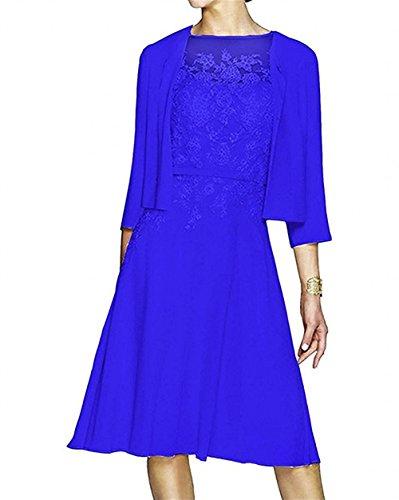 La Spitze Hochzeits mia mit Abendkleider Knielang Chiffon Kurzes Langarm Jaket Brautmutterkleider Braut Blau Partykleider Royal xYdrCwqx