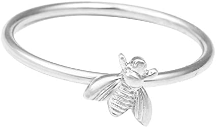 Haluoo Bee Ring for Women 925 Sterling Silver Cute Bee Engagement Wedding Ring Honey Promise Anniversary Ring Jewelry Gift for Ladies Girls Size 6-10