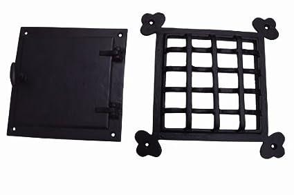 A29 Speakeasy Door Grill With Viewing Door, Black Powder Coat Finish, Large  Size