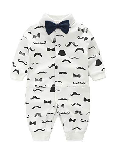 D.B.PRINCE Baby Boys Long Sleeves Gentleman Cotton Rompers Small Suit Bodysuit Outfit with Bow Tie (White+Black, 12-24 Months)
