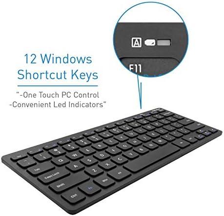 Macally 2.4G Mini teclado inalámbrico – ergonómico y cómodo – pequeño teclado para ordenador portátil o Windows PC, tableta, Smart TV – Plug & Play Teclado compacto 12 teclas de acceso rápido multimedia 7