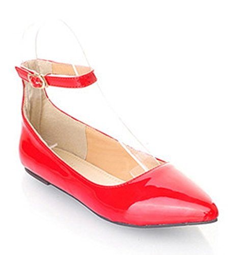 Aisun Women's Comfy Candy Color Patent Leather Ankle Strap Flats Shoes Red 11 B(M) US