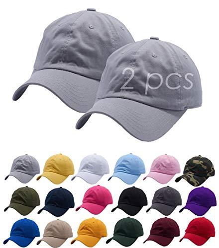 Set of 2, Grey Cotton Dad Hat Cap Adjustable Baseball Cap Classic Plain Hat Men Women Unisex Ballcap 6 Panels Polo Style
