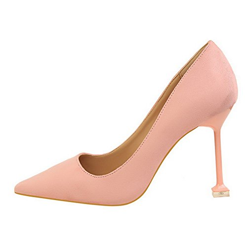Odomolor AmagooTer Women's Imitated Suede High-Heels Solid Pull-On Closed-Toe Pumps-Shoes Pink q1HcrL