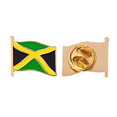 Jamaica Flag Lapel Pin - Jamaica Country Flag Lapel Pin Enamel Made of Metal Souvenir Hat Men Women Patriotic Jamaican (Waving Flag Lapel Pin)