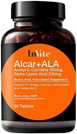 InVite Health ALCAR w ALA, Support for Energy, Memory, Nerve Health and Metabolism, 60 Tablets Pack of 1