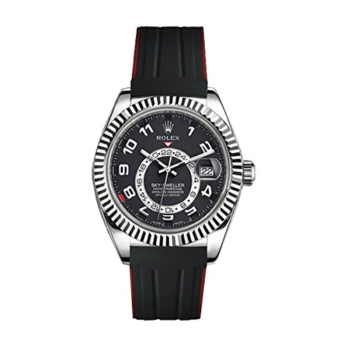 [ラバービー] RubberB ラバーベルト ROLEX スカイドゥエラー専用ラバーベルト(ROLEX純正バックルを使用)(ブラック×レッド)※時計は付属しません(Watch is not included)[並行輸入品]  B01IZPNETA