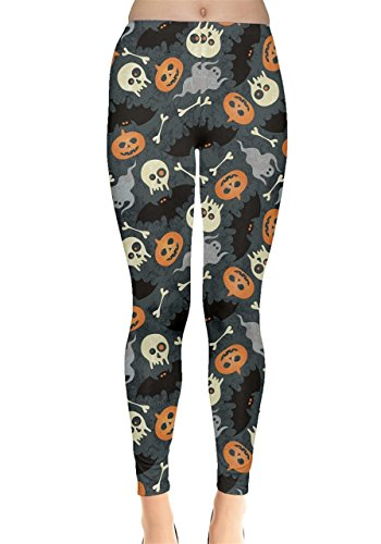 CowCow Womens Colorful Halloween Pumkins Bats Skulls Leggings, Colorful - 5XL -