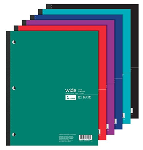 - Office Depot Wireless Notebook, 8 1/2in x 10 1/2in, 3-Hole Punched, 1 Subject, Wide Ruled, 80 Sheets, Assorted Colors, 05222-05315