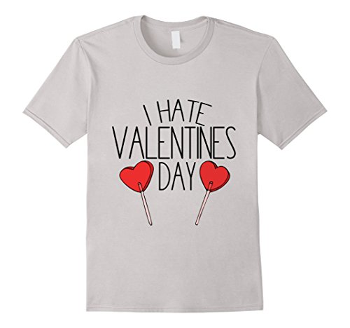 Men's I hate Valentine's day tshirt cute anti-Valentine tee shirts 2XL Silver