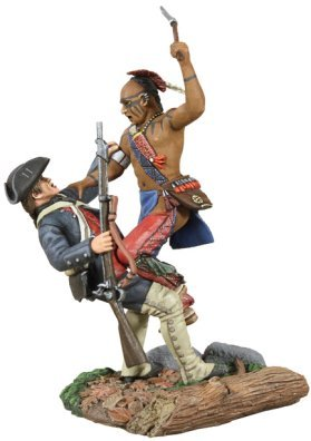 W. Britain Eastern Woodland Indian and Colonial Militia Hand-to-Hand Set - Hand Painted Train Toy