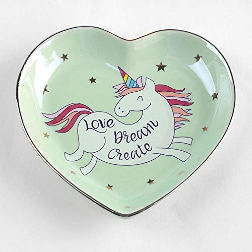 SaveStore Ceramic Cartoon Unicorn Heart-shaped bowls ice cream plates Decoration Crafts Snack candy storage tray Jewelry dish Snack dish