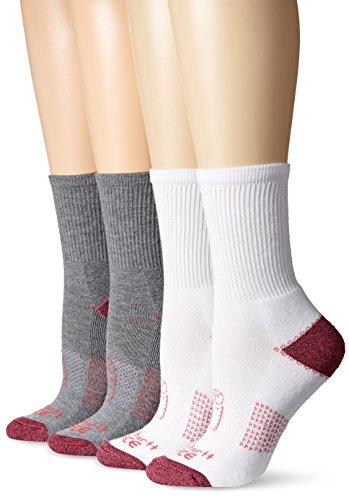 Carhartt Women's Force 4-Pack Short Crew Sock, Grey/Berry, Shoe Size: 5.5-11.5