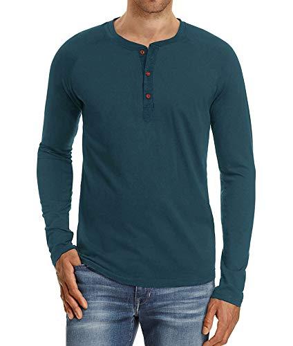 NITAGUT Men's Casual Slim Fit Long Sleeve Henley T-Shirts Cotton Shirts (XL, Blue Gray)