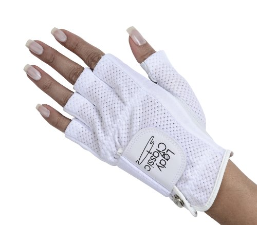 (Lady Classic Cabretta 1/2 Finger Golf Glove White Medium)